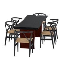 Eldora Two-Tone Solid Single Slab Live Edge Dining Table & Chair Set