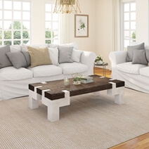 Mexicali Two-Tone Rustic Wood Large Farmhouse Coffee Table with Iron Legs