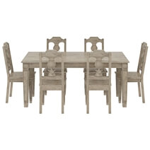 Haysi Rustic Solid Wood Dining Table 6 Chairs Set