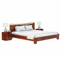 Lamoni Solid Wood Platform Bed w Single Slab Live Edge Headboard