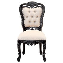 Moville Antique Mahogany Wood Upholstered Tufted Dining Accent Chair
