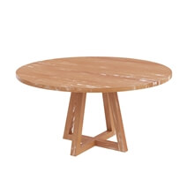Kimballton Shabby Chic Teak Wood Farmhouse Round Dining Table