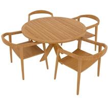 Scottsboro Teak Wood Cross Leg Round Dining Table Chair Set