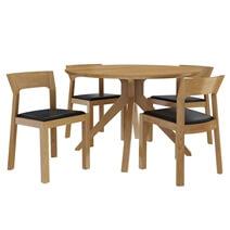 Montecito Teak Wood Cross Leg Modern Round Dining Table Chair Set