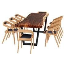 La Habra Solid Wood Single Slab Live Edge Dining Table and 8 Chair Set