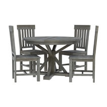 Alamosa Solid Teak Wood Grey Round Dining Table Chair Set