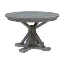 Alamosa Solid Teak Wood Grey Round Dining Table Chair Set