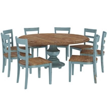 Conway Blue Two Tone Mahogany Wood 10 Piece Dining Room Set