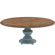 Conway Farmhouse Two Tone Solid Wood Round Dining Table Chair Set