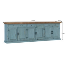 Conway Blue Two Tone Solid Wood 4 Drawer Extra Long Sideboard Buffet