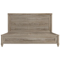 Winnetka Rustic Teak Wood Platform Bed with Ornate Headboard