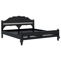 Lahaina Solid Teak Wood Platform Bed With Moroccan Style Headboard
