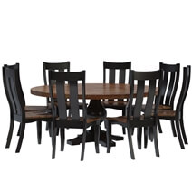 Rexburg Black Two Tone Solid Wood Farmhouse Dining Table Chair Set