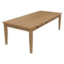 Peshtigo Large Teak Wood Farmhouse Dining Table with Storage