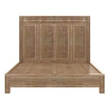 Waukesha Hand Carved Teak Wood Moroccan Style Platform Bed