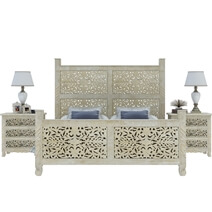 Pennsylvania Solid Wood Moroccan Style Floral Hand Carved Platform Bed