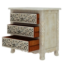 Pennsylvania Solid Wood Queen Anne 3 Drawer White Nightstand