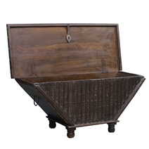 Palmer Rustic Reclaimed Wood 37 Tapered Base Storage Trunk Chest