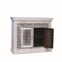 Falmouth Grey Two Tone Mango Wood Hand Carved Storage Cabinet