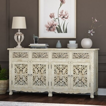 Pennsylvania Solid Wood Queen Anne Farmhouse 4 Drawer Large Sideboard