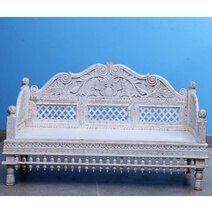 Jorhat Rustic Solid Wood Hand Carved Traditional Sofa With Arched Back