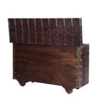 Camrose Rustic Reclaimed Solid Wood Hand Carved Antique Storage Trunk