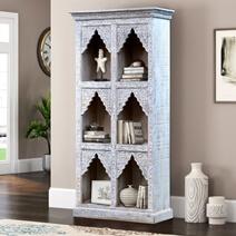 Mirabel Hand Carved Reclaimed Wood 3 Open Shelf Standard Bookcase