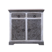 Aquino Two Tone White Reclaimed Wood 2 Drawer Rustic Sideboard Cabinet