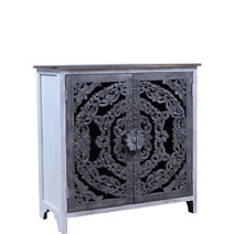 Aquino Two Tone White Reclaimed Wood Handcrafted Storage Cabinet