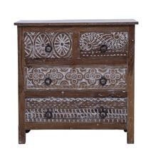 Olney Rustic Solid Reclaimed Wood 4 Drawer Moroccan Bedroom Dresser