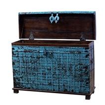 Crandon Blue Rustic Reclaimed Solid Wood Tall Nautical Antique Trunk