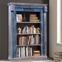 Ballina Reclaimed Wood Hand Carved 4 Open Shelf Standard Bookcase