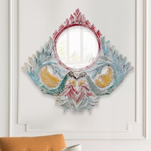 Pavo Solid Wood Handcrafted Peacocks Accent Mirror Frame