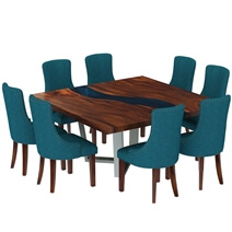Alberta Solid Wood Live Edge Resin Dining Table Chair Set