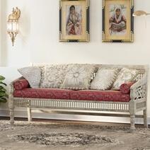 Pennsylvania Mahogany Wood Handcarved Moroccan Living Sofa