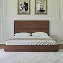 Madsen Solid Mahogany Wood Hand Carved Platform Bed