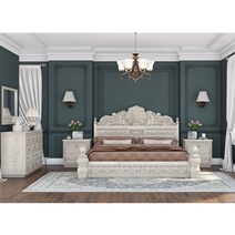 Nuala 5-Piece Hand Carved Mahogany Wood Bedroom Set