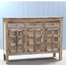 Fortress Hand Carved Rustic 3-Drawer Large Sideboard