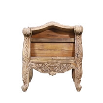 Versailles Antique Hand Carved Reclaimed Wood Bench