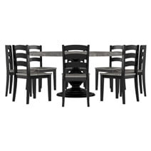 Moosonee Black Two Tone Solid Wood Farmhouse Dining Table Chair Set
