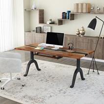 Live Edge Solid Wood Epoxy 73 Inch Modern Industrial Computer Table Desk