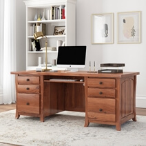 Congleton Live Edge Solid Acacia Wood Large Office Home Executive Desk