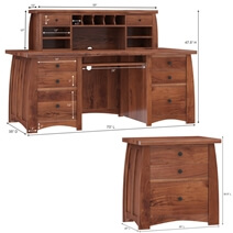 Helston Live Edge Top Solid Wood Executive Hutch Desk with File Cabinet
