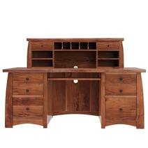 Helston Live Edge Top Solid Acacia Wood Home Office Executive Hutch Desk