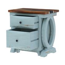 Eden Live Edge Two-Tone Blue Solid Wood Epoxy Executive Desk w File Cabinet
