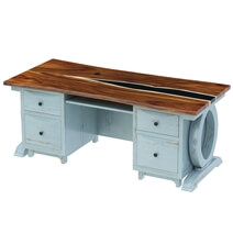 Eden Two-Tone 77 Large Blue Solid Wood Epoxy Home Office Executive Desk