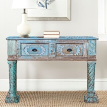 Picton Hand Carved Distressed Blue Reclaimed Wood Hall Table