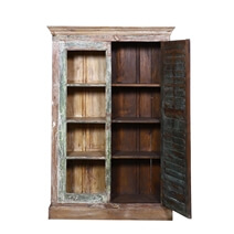 Coupeville Rustic Reclaimed Wood Bookcase with 4 Shelves Shutter Door