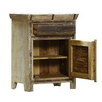 Cusco Rustic Reclaimed Wood One-Door Nightstand with Iron Accents