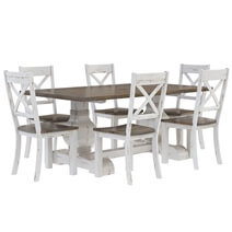 Greenville Farmhouse Two-Tone Teak Wood Dining Table Chair Set
